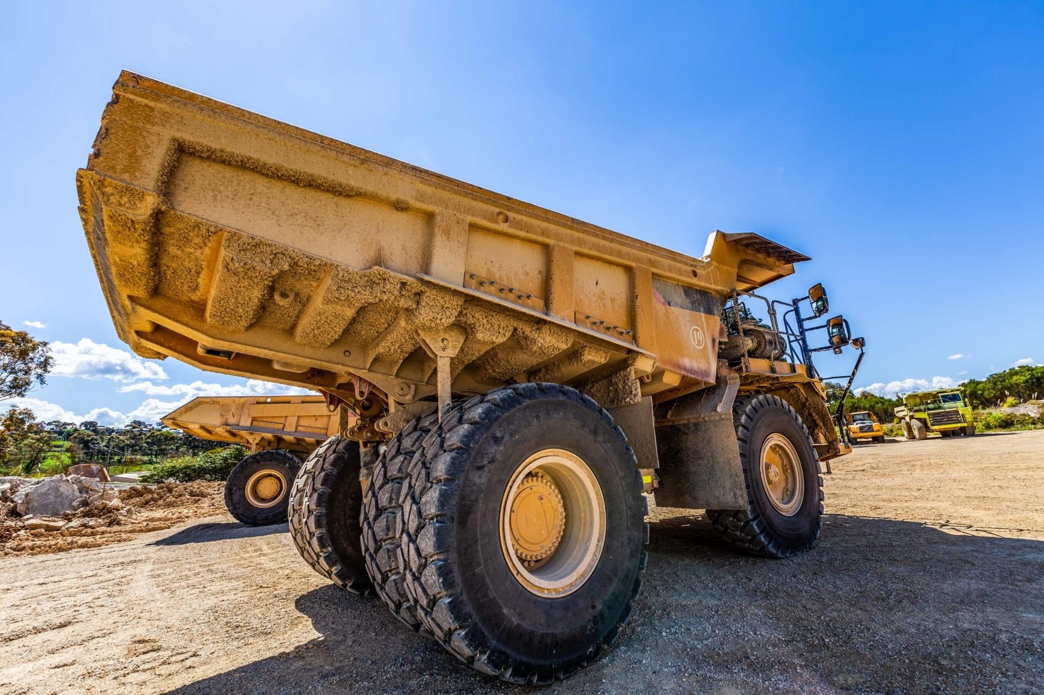 Dumper trucks on construction site