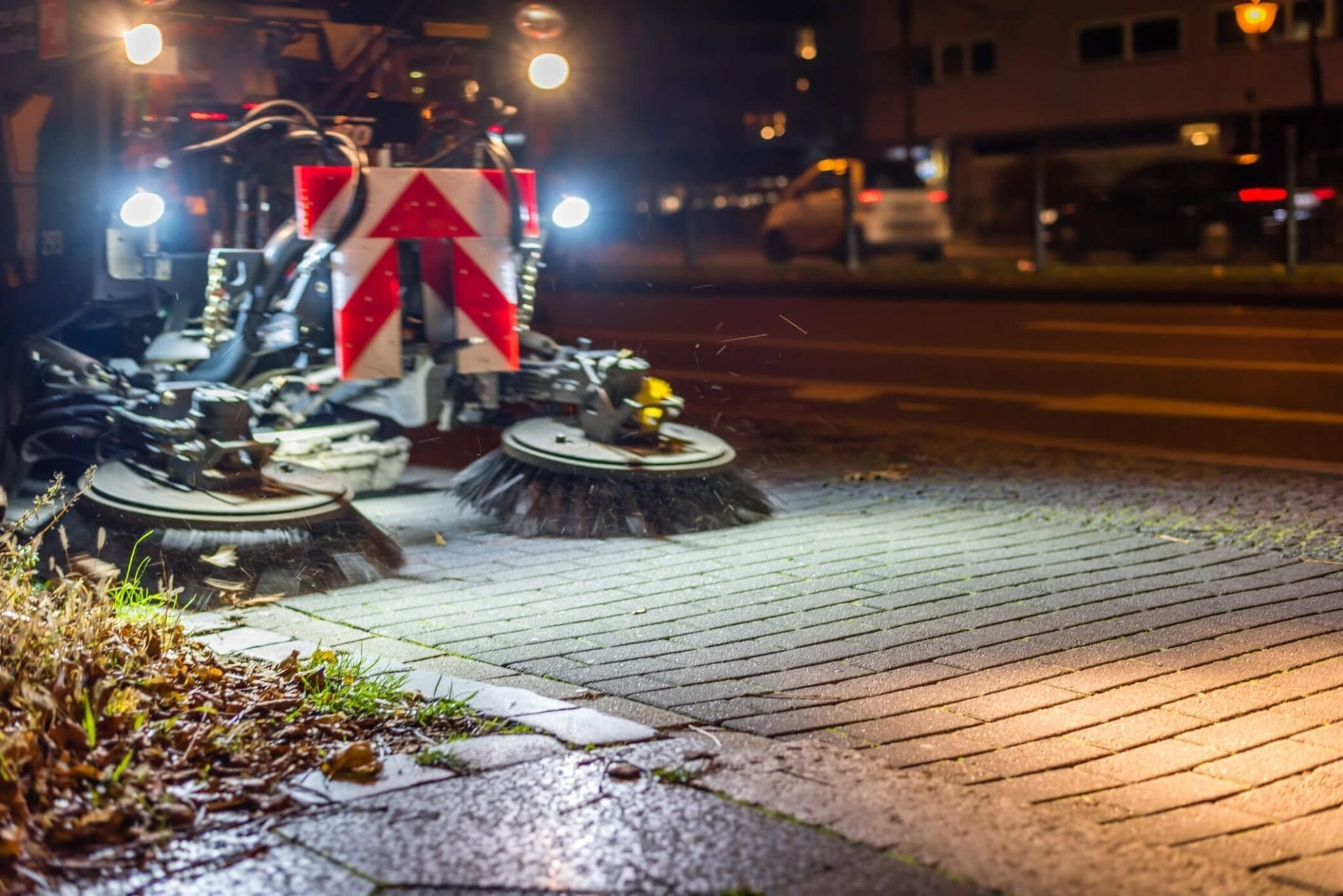 Road Sweeper on Cobbled Road