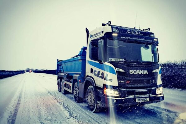 Lorry on a icey Road